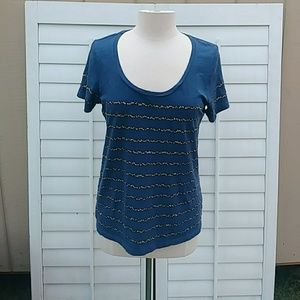 Navy Blue J Crew T Shirt with Sequins. Size Small
